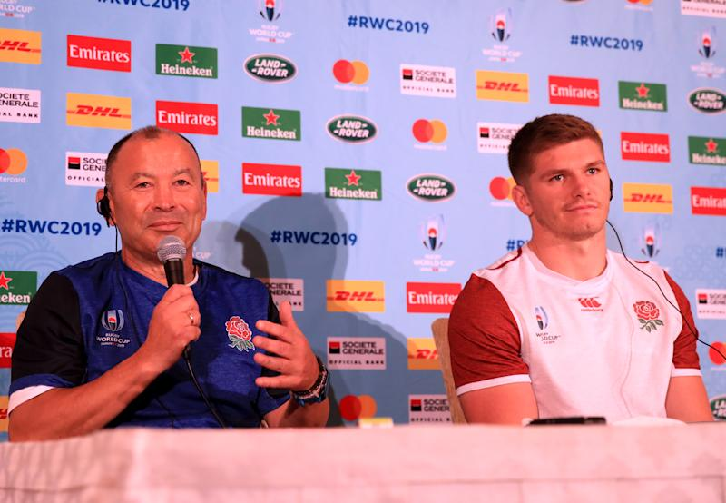 England's coach Eddie Jones and Owen Farrell during the press conference at Keio Plaza Hotel, Tokyo. (Photo by Adam Davy/PA Images via Getty Images)