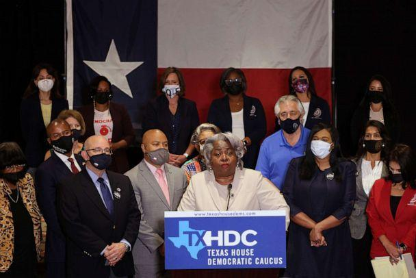 PHOTO: Democratic Texas state representatives speak at a press conference on Texas Gov. Greg Abbott and the group's meetings with federal lawmakers on voting rights, on July 20, 2021, in Washington, D.C. (Kevin Dietsch/Getty Images, FILE)