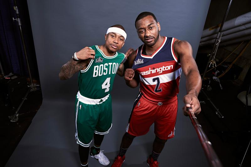 Eastern Conference All-Star point guards Isaiah Thomas and John Wall will try to knock one another out of the picture. (Getty Images)