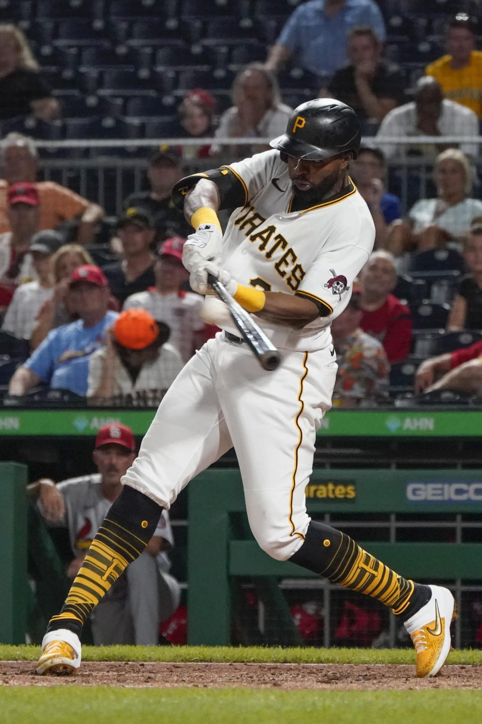 Pittsburgh Pirates' Gregory Polanco drives in two runs with a double in the seventh inning of a baseball game against the St. Louis Cardinals, Thursday, Aug. 26, 2021, in Pittsburgh. (AP Photo/Keith Srakocic)