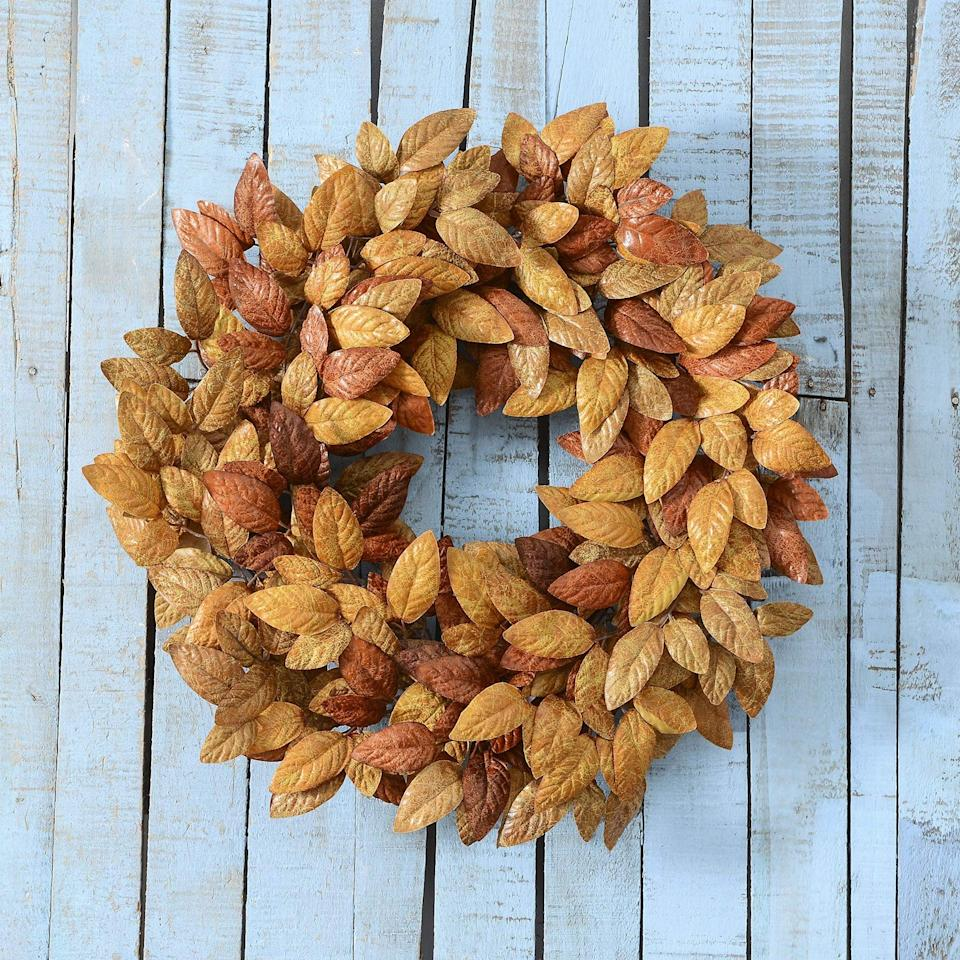 """<p>This <span>Artificial Fall Wreath 18"""" Fall Eucalyptus Leaves Wreath</span> ($30) would look great on your front door.</p>"""