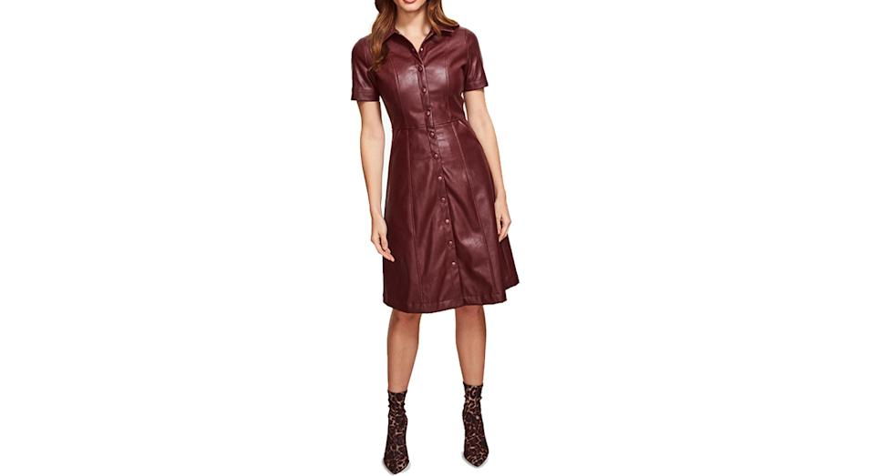 Sosandar Leather Look Fit And Flare Shirt Dress