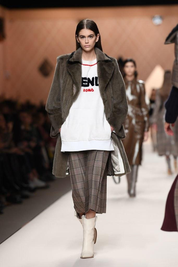 Kaia Gerber walks the runway at the Fendi Fall 2018 show during Milan Fashion week on February 22, 2018 in Milan, Italy. Photo courtesy of Getty Images.