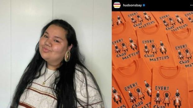 Dani Lanouette, left, was surprised to learn that the Hudson's Bay Co. is selling orange shirts ahead of the National Day for Truth and Reconciliation, given its role in Canada's colonization. (Submitted by Dani Lanouette, Hudsonsbay/Instagram - image credit)