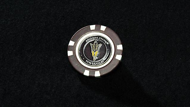 <strong>ALMA MATER MARK</strong><br> I had a ball marker for 13 years but lost it. Kelley gave me this Arizona State poker chip ball marker. The first time I used it I won the Pac-12 title by four shots. I've used it ever since.