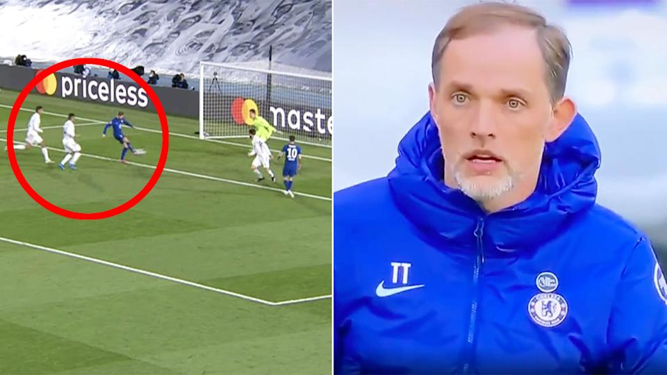 Seen here, Chelsea manager Thomas Tuchel reacts to Timo Werner's shocking miss.