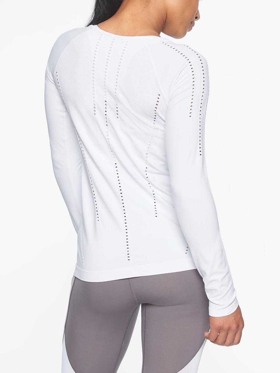 <p>Slip on this <span>Athleta Foothill Long Sleeve</span> ($44-$48, originally $59) for your favorite mat workout, and the mesh ventilation will be there to keep you cool.</p>