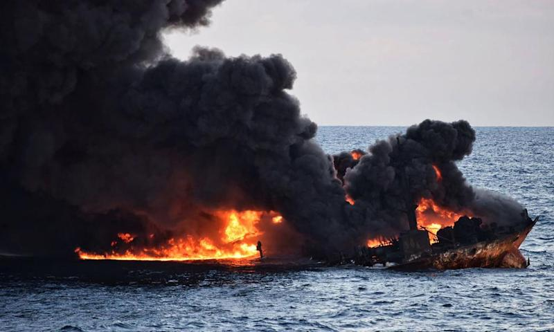 The burning oil tanker Sanchi off the coast of eastern China
