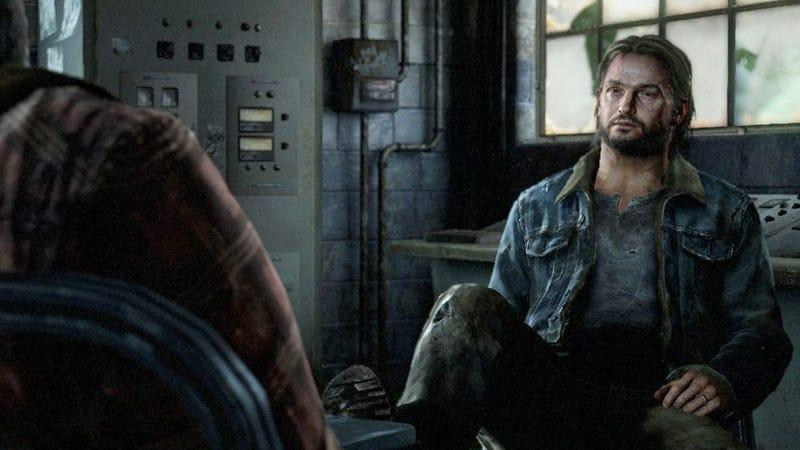 Tommy sitting and talking to his brother Joel as seen in a cutscene from The Last of Us on PS3.