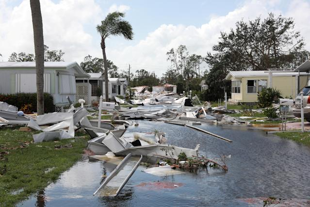 <p>Property damage is seen at a mobile home park after passing of Hurricane Irma in Naples, Fla., Sept. 11, 2017. (Photo: Stephen Yang/Reuters) </p>