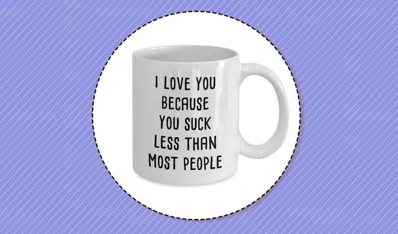 The funniest Valentine's Day gifts are mugs with a sense of humor. (Photo: Etsy)