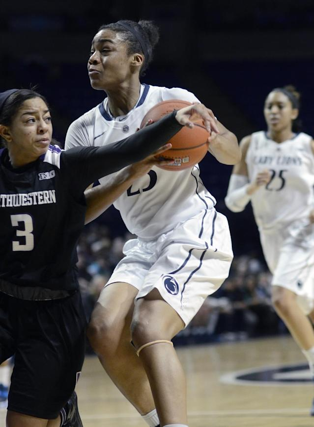 Penn State's Ariel Edwards (23) looks for a shot around Northwestern's Ashley Deary (3) during the first half of an NCAA basketball game in State College, Pa., Thursday, Feb. 20, 2014. (AP Photo/Ralph Wilson)