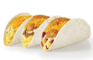 Del Taco's new Double Cheese Breakfast Tacos include the Egg & Cheese, Hashbrowns & Beef, Hashbrowns & Bacon and all feature freshly grated cheddar cheese and Del Taco's signature creamy Queso Blanco.
