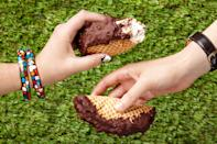 """The original Choco Taco may have a cult following, but we think this homemade version has it beat. <a href=""""https://www.epicurious.com/recipes/food/views/ice-cream-tacos-with-chocolate-and-peanuts-56389963?mbid=synd_yahoo_rss"""" rel=""""nofollow noopener"""" target=""""_blank"""" data-ylk=""""slk:See recipe."""" class=""""link rapid-noclick-resp"""">See recipe.</a>"""