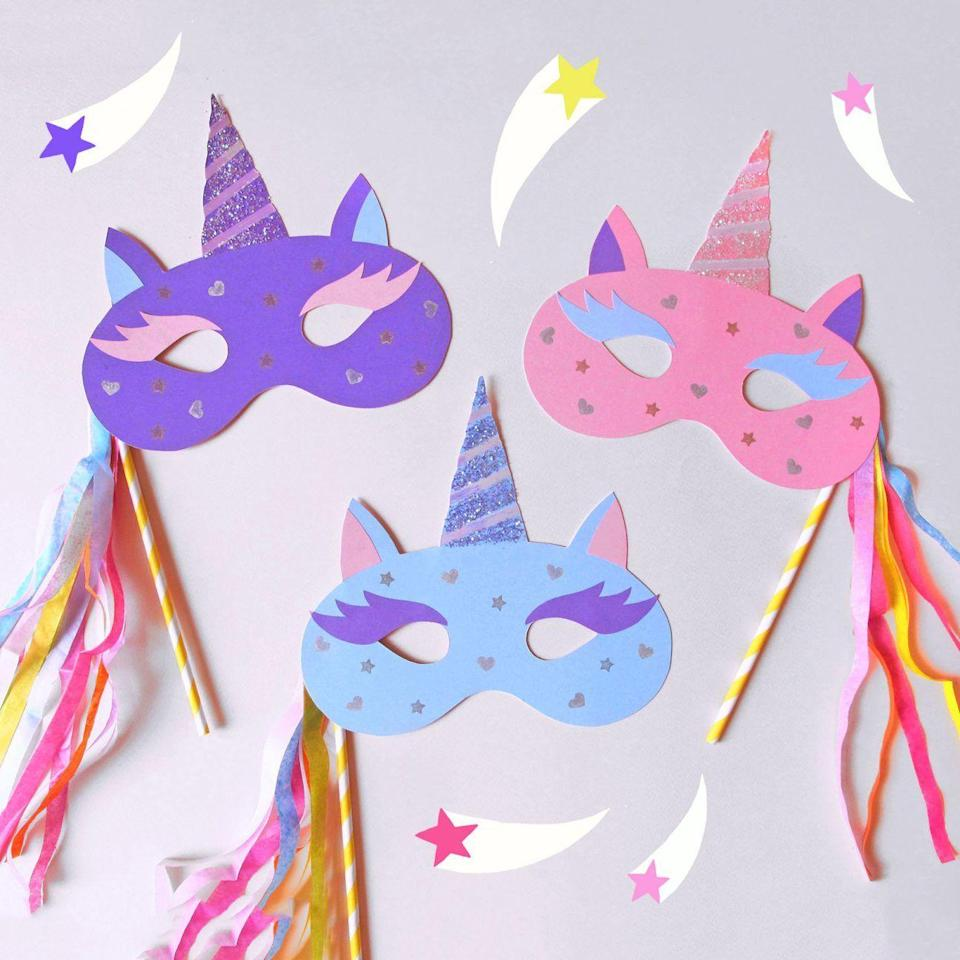 """<p>Unicorns may be fictional creatures, but this Halloween, your little one can easily become the coolest one-horned creature ever. </p><p><strong><em>Get the tutorial at <a href=""""https://www.paperchase.com/the-journal/how-to-make-a-unicorn-mask/"""" rel=""""nofollow noopener"""" target=""""_blank"""" data-ylk=""""slk:Paperchase Journal"""" class=""""link rapid-noclick-resp"""">Paperchase Journal</a>. </em></strong></p>"""