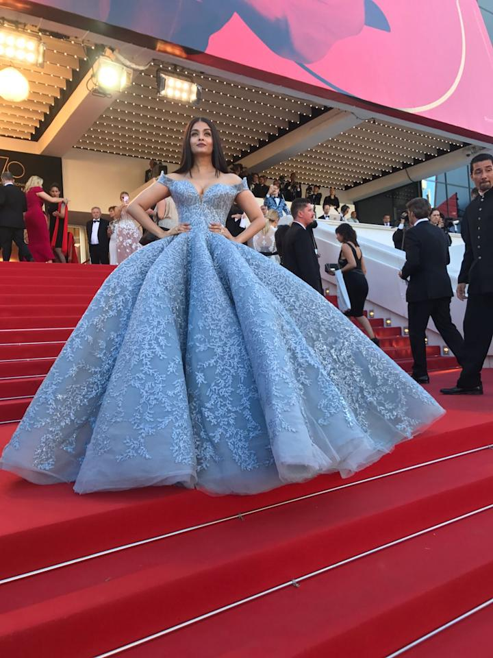 Cannes 2017: Aishwarya Rai Bachchan pulls off the Cinderella look with panache as she walks the red carpet