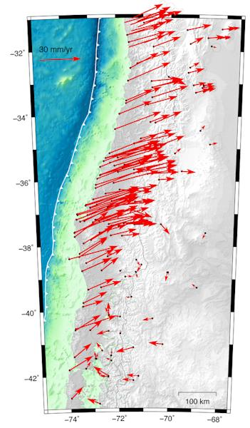 GPS measurements show how the crust shifted after a magnitude-8.8 earthquake in Chile in 2010.