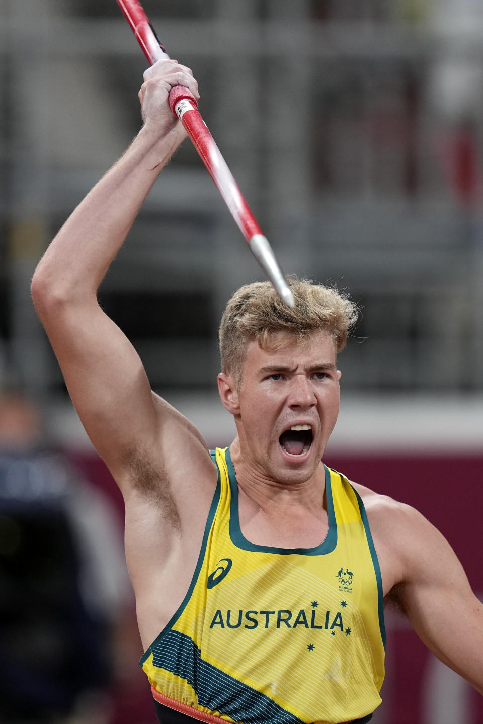 Ashley Moloney, of Australia, competes in the decathlon javelin throw at the 2020 Summer Olympics, Thursday, Aug. 5, 2021, in Tokyo. (AP Photo/David J. Phillip)