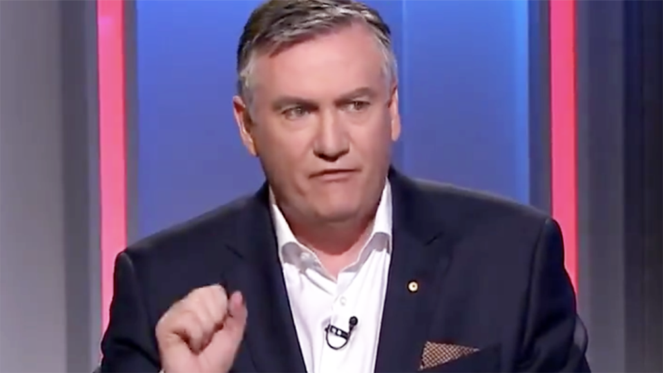 Eddie McGuire, pictured here discussing the AFL's plans to restart the 2020 season.