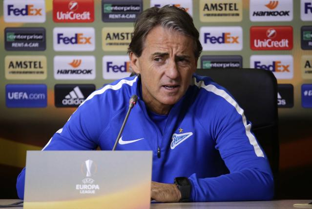 Soccer Football - Europa League - Zenit Saint Petersburg Press Conference - St. Petersburg, Russia - February 21, 2018 - Zenit Saint Petersburg's coach Roberto Mancini attends a press conference. REUTERS/Anton Vaganov