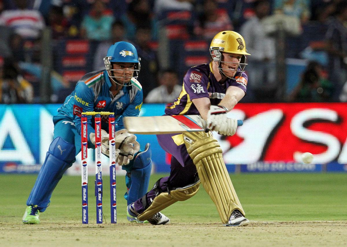 Kolkata Knight Riders player Eoin Morgan plays a shot during match 56 of the Pepsi Indian Premier League ( IPL) 2013  between The Pune Warriors India and the Kolkata Knight Riders held at the Subrata Roy Sahara Stadium, Pune on the 9th May 2013. (BCCI)