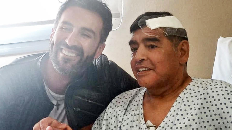 Diego Maradona, pictured here in hospital before bis death.