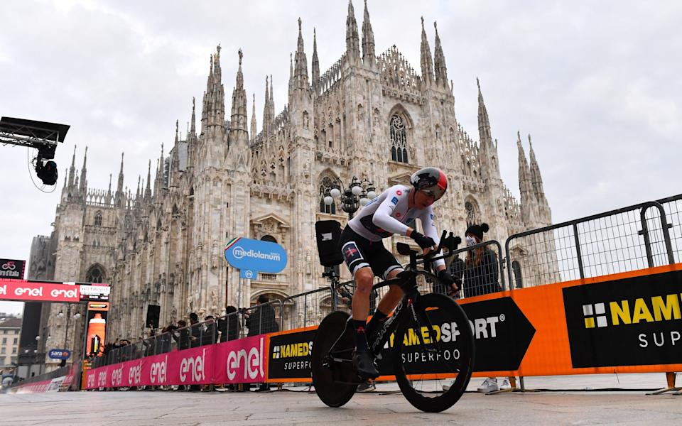 Tao Geoghegan Hart rides into cycling history with victory at the Giro d'italia in Milan  - GETTY IMAGES