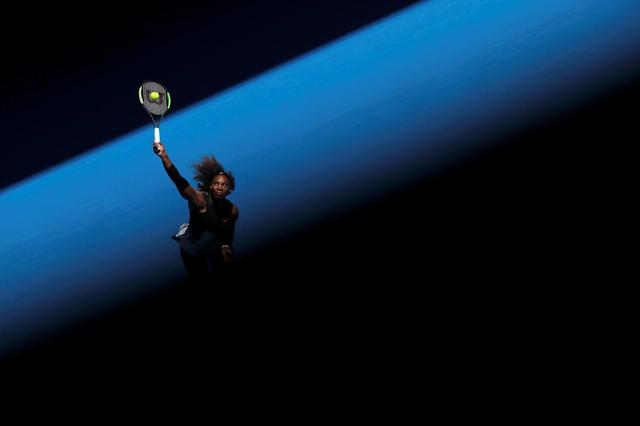 """Serena Williams of the U.S. serves during her women's singles third round tennis match against Nicole Gibbs of the U.S. in the Australian Open 2017 in Melbourne, Australia January 21, 2017. REUTERS/Jason Reed SEARCH """"POY GLOBAL"""" FOR THIS STORY. SEARCH """"REUTERS POY"""" FOR ALL BEST OF 2017 PACKAGES. TPX IMAGES OF THE DAY"""