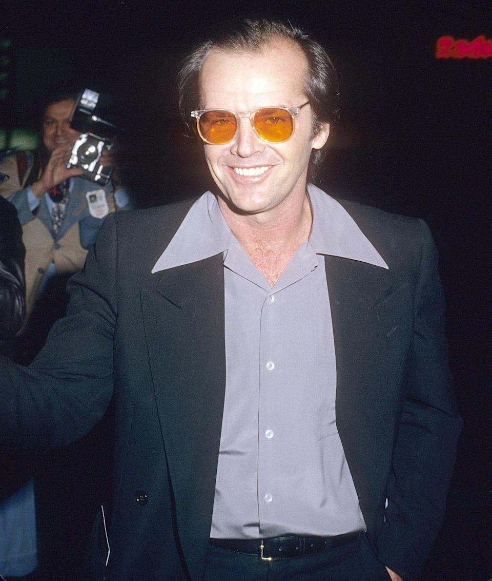 <p>Jack Nicholson began wearing tinted lenses—ranging from orange to pink—in the '70s and they're now heavily engrained into his look. Over the years, the frame design has changed, but his specs are nearly always tinted.</p>