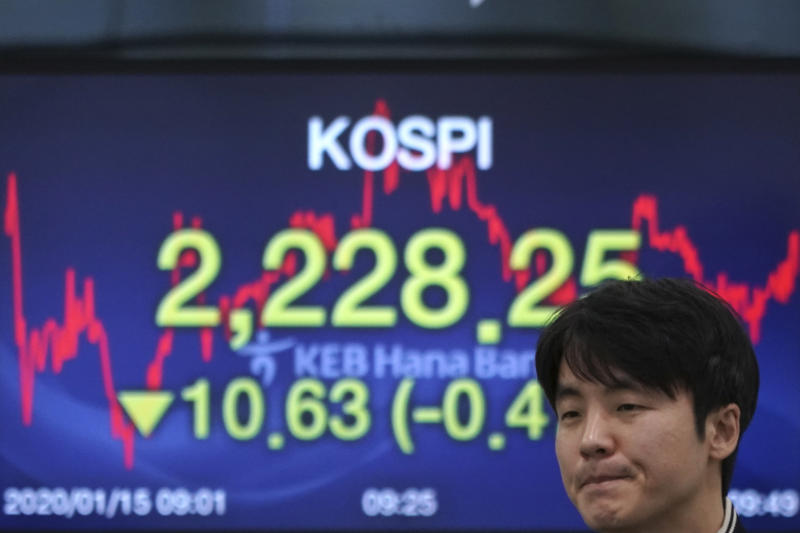 A currency trader walks by the screen showing the Korea Composite Stock Price Index (KOSPI) at the foreign exchange dealing room in Seoul, South Korea, Wednesday, Jan. 15, 2020. Asian shares have retreated as conflicting reports raised concerns over the likely outcome of a trade deal to be signed by the U.S. and China. (AP Photo/Lee Jin-man)