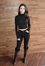 <p>In a black A.L.C. cropped turtleneck worn with skinny jeans and knee-high boots while in Salt Lake City for the Sundance Film Festival.</p>