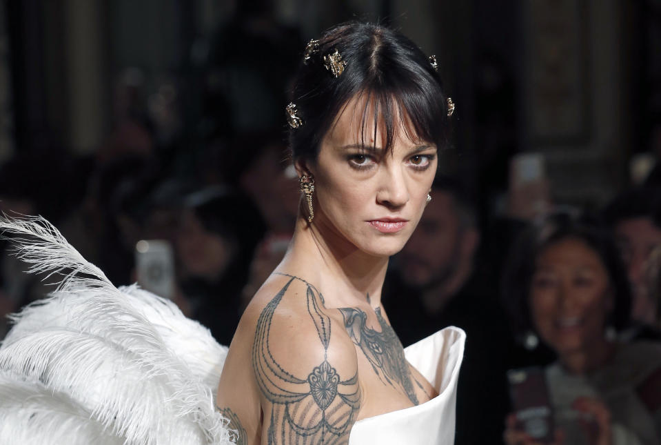 PARIS, FRANCE - JANUARY 21: Italian actress Asia Argento walks the runway during the Antonio Grimaldi Spring Summer 2019 show as part of Paris Fashion Week on January 21, 2019 in Paris, France. (Photo by Thierry Chesnot/Getty Images)