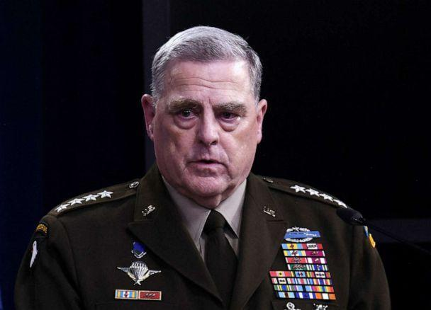 PHOTO: Chairman of the Joint Chiefs of Staff General Mark Milley speaks to the press on Aug. 18, 2021 at the Pentagon in Washington. (Olivier Douliery/AFP via Getty Images, FILE)