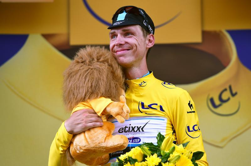 An emotional Tony Martin (Etixx-Quick Step) in the yellow jersey