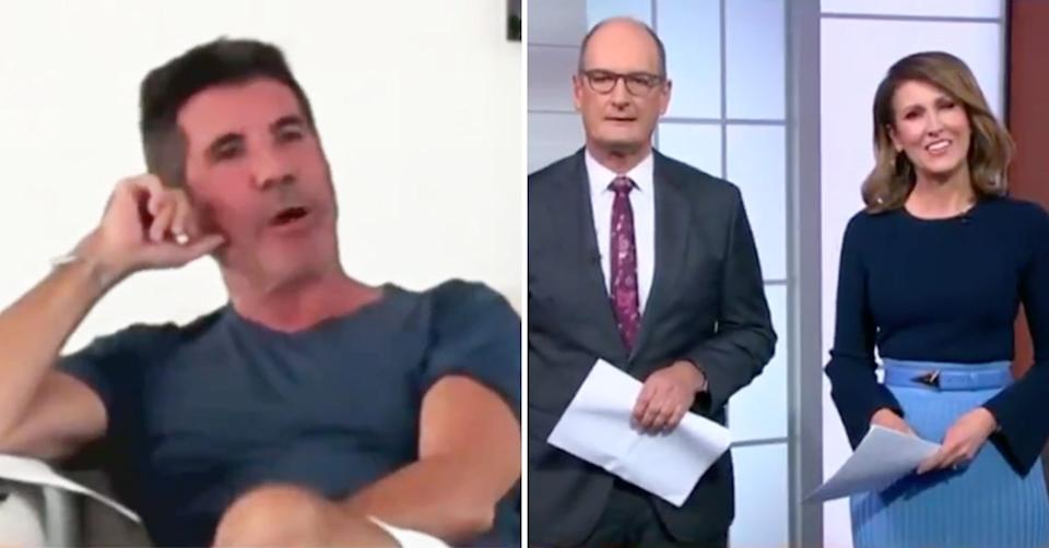 Simon Cowell with Sunrise hosts David 'Kochie' Koch and Natalie Barr. Photo: Channel 7.