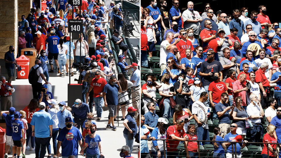 Texas Rangers fans, pictured here packing into Globe Life Field.