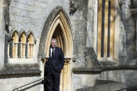 Britain's Prince Andrew attends the Sunday service at the Royal Chapel of All Saints at Royal Lodge, Windsor, following the announcement of Prince Philip, in England, Sunday, April 11, 2021. Britain's Prince Philip, the irascible and tough-minded husband of Queen Elizabeth II who spent more than seven decades supporting his wife in a role that mostly defined his life, died on Friday. (Steve Parsons/Pool Photo via AP)