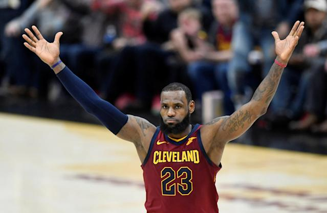 FILE PHOTO: Mar 21, 2018; Cleveland, OH, USA; Cleveland Cavaliers forward LeBron James (23) celebrates a win over the Toronto Raptors at Quicken Loans Arena. Mandatory Credit: David Richard-USA TODAY Sports/File Photo