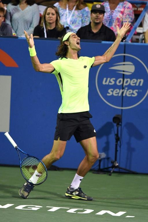 South African Lloyd Harris celebrates defeating 20-time Grand Slam champion Rafael Nadal on Thursday at the ATP Citi Open