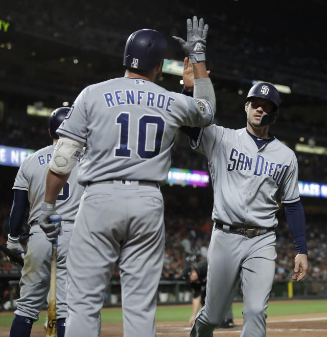 San Diego Padres' Wil Myers, right, is congratulated by Hunter Renfroe (10) after hitting a two-run home run off San Francisco Giants' Will Smith during the ninth inning of a baseball game Saturday, Aug. 31, 2019, in San Francisco. (AP Photo/Ben Margot)