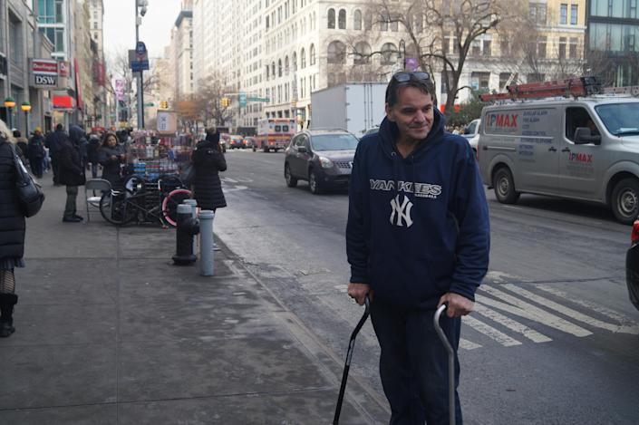 """<span class=""""s1"""">Anthony Russo, 58, who was raised in Ridgewood, Queens, was homeless from 2005 until 2009 in the rapidly gentrifying neighborhood Bushwick, Brooklyn. He and his girlfriend were able to find an apartment thanks to a $1,100 monthly allowance from HASA, which helps New Yorkers with HIV or AIDS meet their financial requirements. (Photo: Michael Walsh/Yahoo News)</span>"""