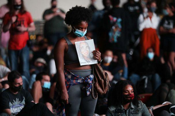 PHOTO: Members of Black Lives Matters are joined by hundreds of others during an evening protest against the Kentucky grand jury decision in the Breonna Taylor case outside of the Barclays Center, Sept. 23, 2020, in Brooklyn, New York. (Spencer Platt/Getty Images)