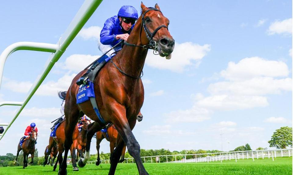 Ghaiyyath, who has now been retired to stud, cruises to victory in the Eclipse Stakes at Sandown in July under William Buick.