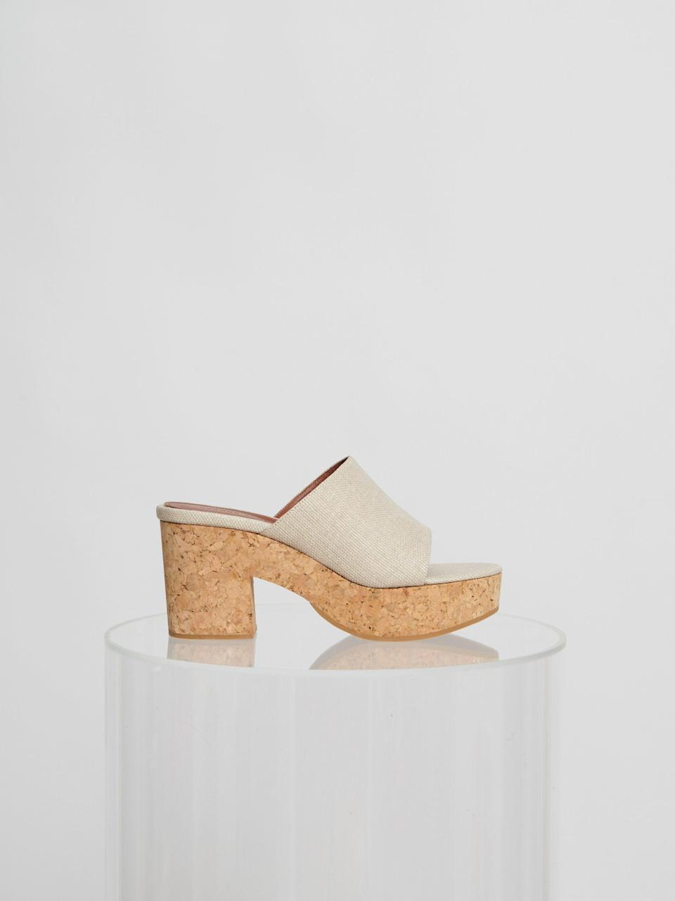 """<p><strong>Yvonne Kone</strong></p><p>yvonnekone.com</p><p><strong>2400.00</strong></p><p><a href=""""https://www.yvonnekone.com/collections/shoes/products/vanessa-sandal-sand?variant=34618924564631"""" rel=""""nofollow noopener"""" target=""""_blank"""" data-ylk=""""slk:Shop Now"""" class=""""link rapid-noclick-resp"""">Shop Now</a></p><p>The cork footbed makes for a super light and easy to wear platform that will never go out of style.</p>"""