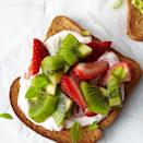 <p>In a hurry? It takes just 5 minutes to toss together this cheerful strawberry-kiwi toast.</p>