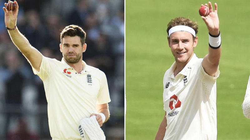 Stuart Broad (pictured right) raises the ball to celebrate his 500th wicket and James Anderson (pictured left) also celebrates.
