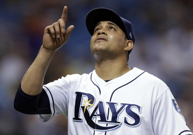 Tampa Bay Rays relief pitcher Yonny Chirinos reacts after getting New York Yankees' Giancarlo Stanton to ground into a double play to end the top of the fifth inning of a baseball game Wednesday, Sept. 26, 2018, in St. Petersburg, Fla. (AP Photo/Chris O'Meara)