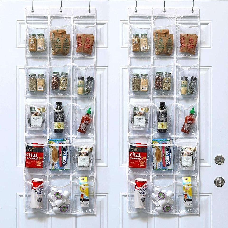 """The clear pockets make finding things in your pantry, garage or bathroom — and knowing where to put them away — easy.<br /><br /><strong>Promising review:</strong>""""This is great for organizing the pantry, craft rooms, and bathrooms. I finally have a way to keep all the junk off my counters. The pockets are huge, the hooks leave a low profile (so no issue with scratching), and it seems very sturdy for holding all my junk so far (it's mostly holding way too many hair products in my bathroom at the moment).<strong>I love that this is clear so you can see everything</strong>."""" —<a href=""""https://amzn.to/3tmM0CR"""" target=""""_blank"""" rel=""""nofollow noopener noreferrer"""" data-skimlinks-tracking=""""5902331"""" data-vars-affiliate=""""Amazon"""" data-vars-href=""""https://www.amazon.com/gp/customer-reviews/RD8LY74WMLTLI?tag=bfmal-20&ascsubtag=5902331%2C2%2C37%2Cmobile_web%2C0%2C0%2C16540715"""" data-vars-keywords=""""cleaning"""" data-vars-link-id=""""16540715"""" data-vars-price="""""""" data-vars-product-id=""""15936280"""" data-vars-retailers=""""Amazon"""">Breanna<br /><br /></a><strong>Get a two-pack from Amazon for<a href=""""https://amzn.to/3tm1EP6"""" target=""""_blank"""" rel=""""nofollow noopener noreferrer"""" data-skimlinks-tracking=""""5902331"""" data-vars-affiliate=""""Amazon"""" data-vars-asin=""""B06XSTVPKB"""" data-vars-href=""""https://www.amazon.com/dp/B06XSTVPKB?tag=bfmal-20&ascsubtag=5902331%2C2%2C37%2Cmobile_web%2C0%2C0%2C16540694"""" data-vars-keywords=""""cleaning"""" data-vars-link-id=""""16540694"""" data-vars-price="""""""" data-vars-product-id=""""16332140"""" data-vars-product-img=""""https://m.media-amazon.com/images/I/51zI2EDxNfL._SL500_.jpg"""" data-vars-product-title=""""2 Pack - SimpleHouseware Crystal Clear Over the Door Hanging Pantry Organizer (52"""" x 18"""")"""" data-vars-retailers=""""Amazon"""">$14.87.</a></strong>"""