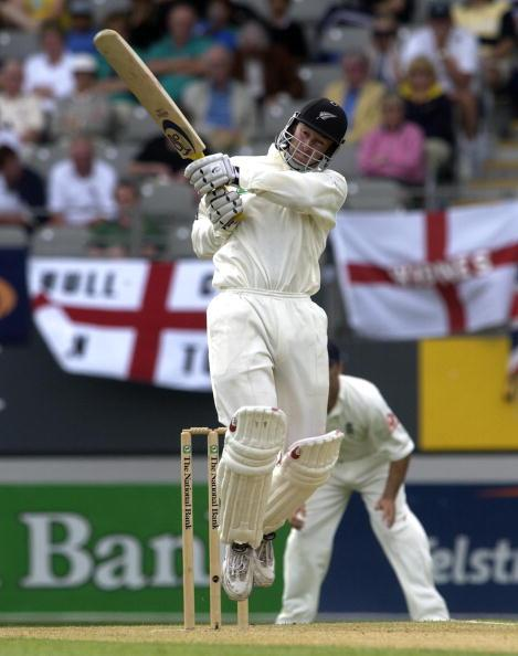 30 Mar 2002:  Chris Harris of New Zealand hits out  during the 1st day of the New Zealand v England 3rd Test Match at Eden Park, Auckland, New Zealand. DIGITAL IMAGE. Mandatory Credit: Tom Shaw/Getty Images