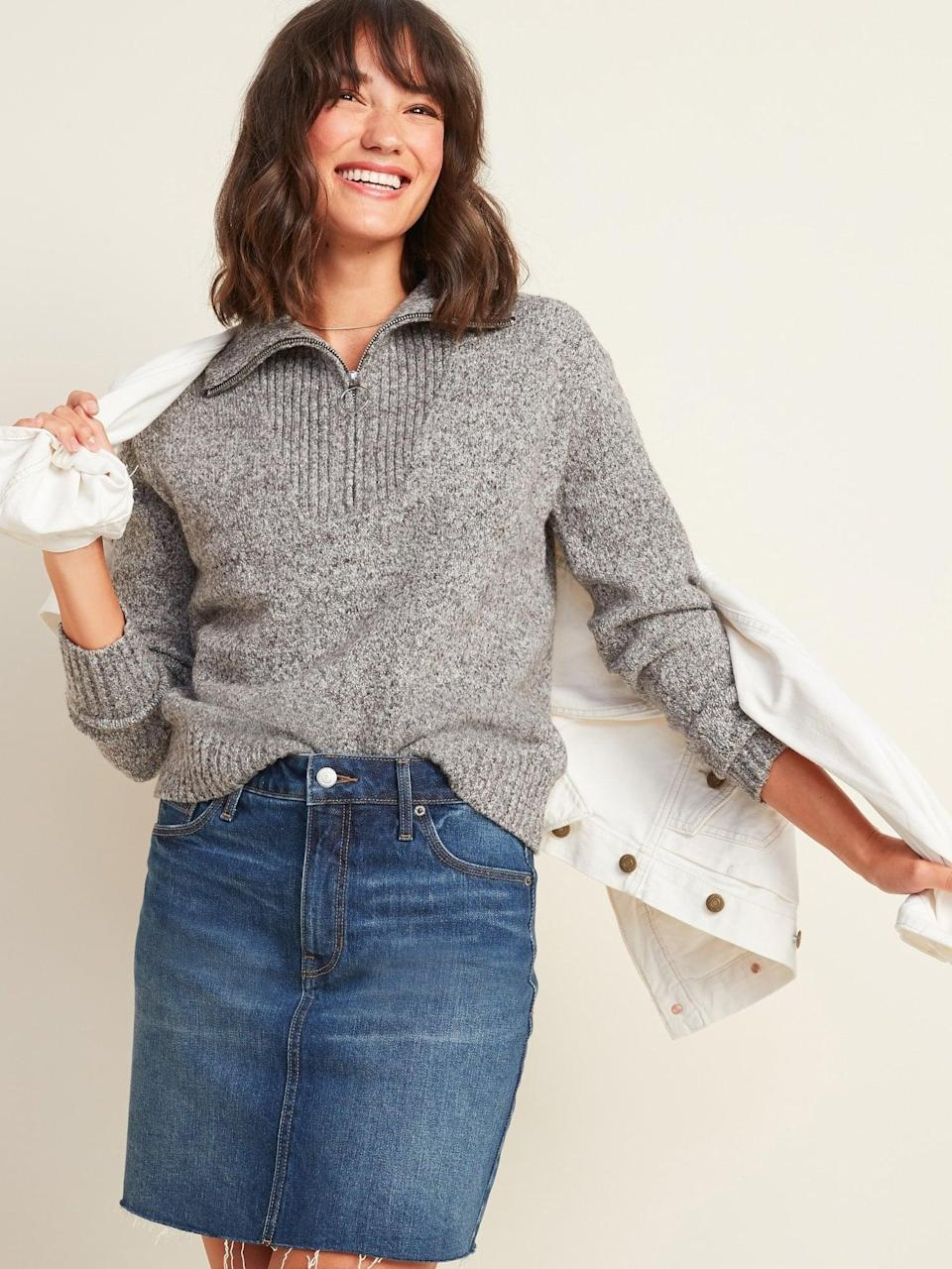 <p>This <span>Mock-Neck 1/4-Zip Sweater</span> ($42, originally $45) will quickly become a fave.</p>
